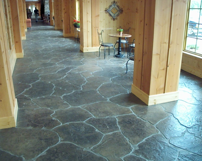 Alternative to brick stone pavers stamped concrete for Interior concrete floors