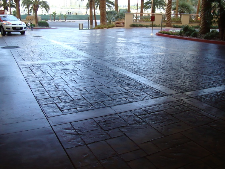 Alternative to brick stone pavers stamped concrete for Polished concrete exterior