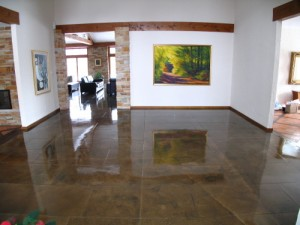coloured polished concrete